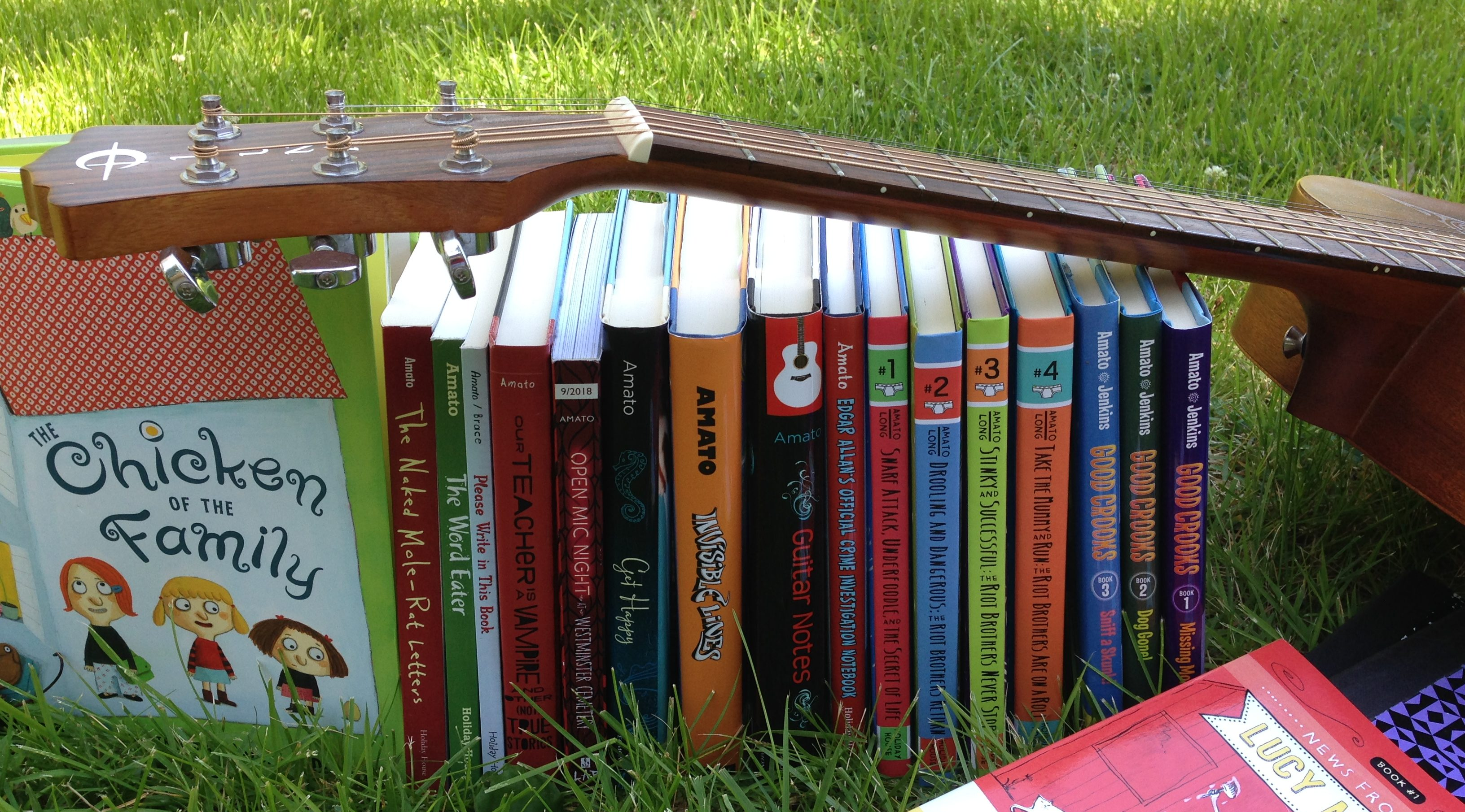 books in grass cropped